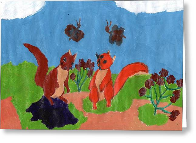 Squirrel Drawings Greeting Cards - Summertime Squirrels Greeting Card by Frances Garry