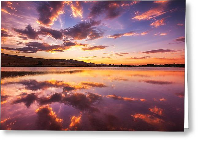 Sky Reflection Greeting Cards - Summertime Sunset Greeting Card by Darren  White