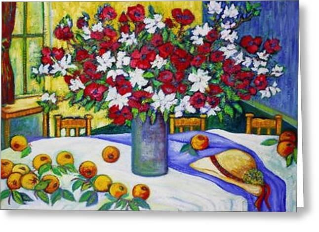 Fenster Mixed Media Greeting Cards - Summertime Table Greeting Card by Gunter  Hortz