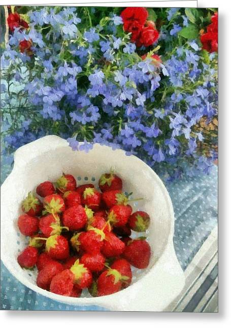 Red White And Blue Digital Greeting Cards - Summertime Table Greeting Card by Michelle Calkins