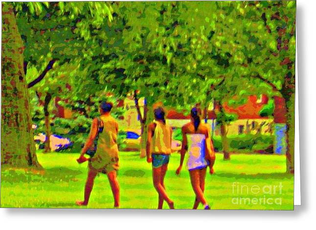 Park Scene Paintings Greeting Cards - Summertime Walk Through The Beautiful Tree Lined Park Montreal Street Scene Art By Carole Spandau Greeting Card by Carole Spandau