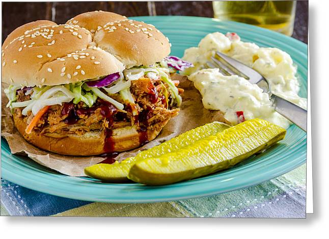Pulled Pork Barbecue Greeting Cards - Summetime BBQ Greeting Card by Teri Virbickis