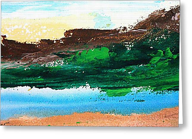 Clean Water Mixed Media Greeting Cards - Summit Lake Greeting Card by Kume Bryant
