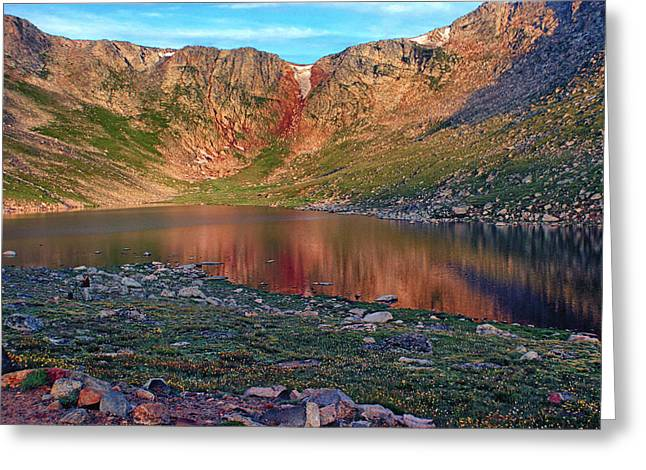 Mountain Reflection Lake Summit Mirror Greeting Cards - Summit Lake Sunrise Greeting Card by Brian Kerls