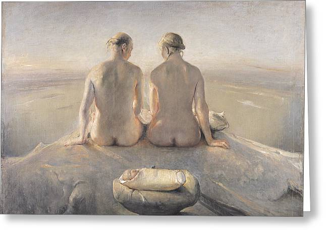 Composition Greeting Cards - Summit Greeting Card by Odd Nerdrum