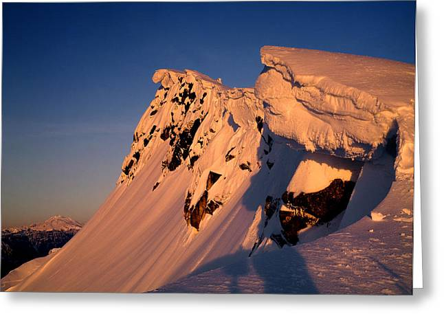 Snow Cornice Greeting Cards - Summit of Mt. Pilchuck Greeting Card by Ed  Cooper Photography