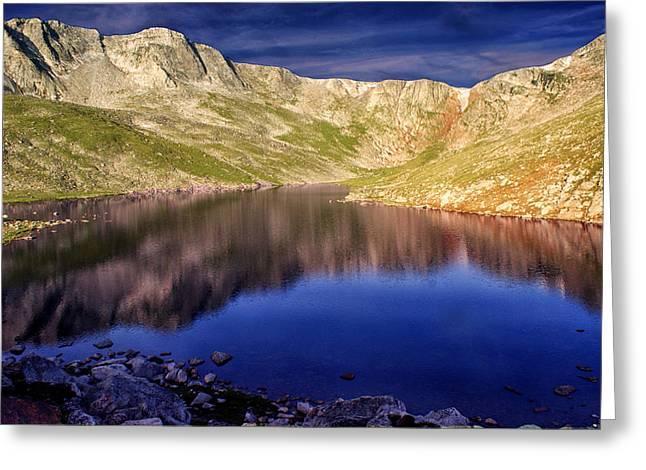 Mountain Reflection Lake Summit Mirror Greeting Cards - Summit Reflections Greeting Card by Brian Kerls