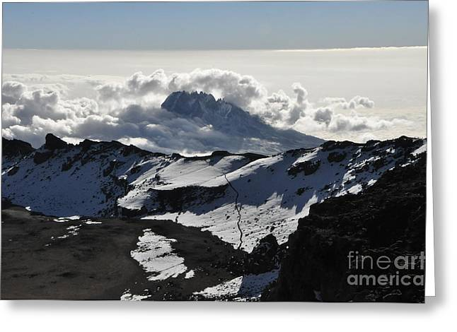 Summit View From The Kibo Over To The Mawenzi Volcanic Cone On Mount Kilimanjaro 5.895 Meters  Greeting Card by Elke Christina Lackner
