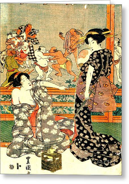 Sumo Wrestling - Full Moon Diptych 1818 Right Greeting Card by Padre Art