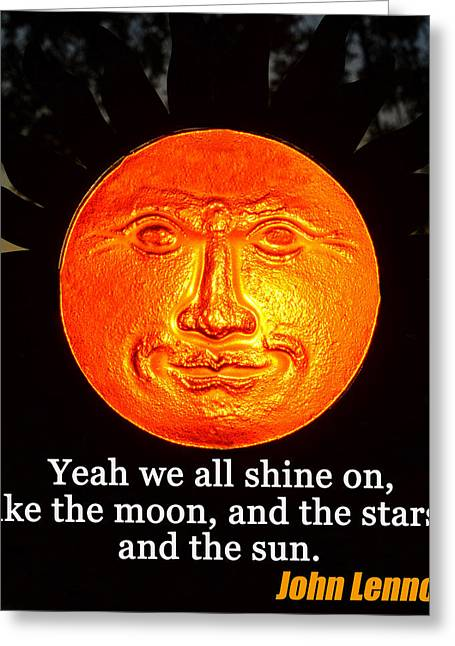 John Lennon Quote Greeting Cards - Sun and John Lennon Greeting Card by David Lee Thompson