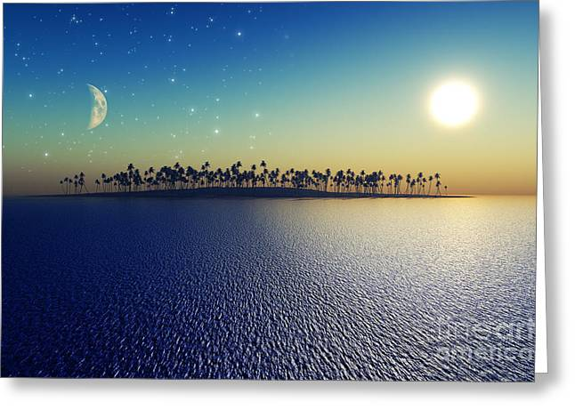 Glowing Water Greeting Cards - Sun And Moon Greeting Card by Aleksey Tugolukov