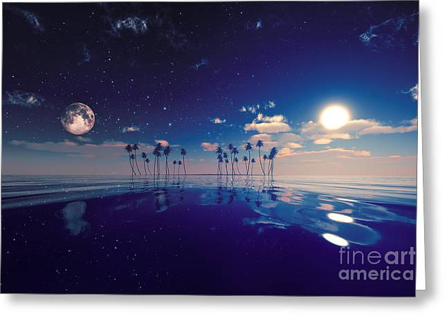 Sea Moon Full Moon Greeting Cards - Sun And Moon Behind Island Greeting Card by Aleksey Tugolukov