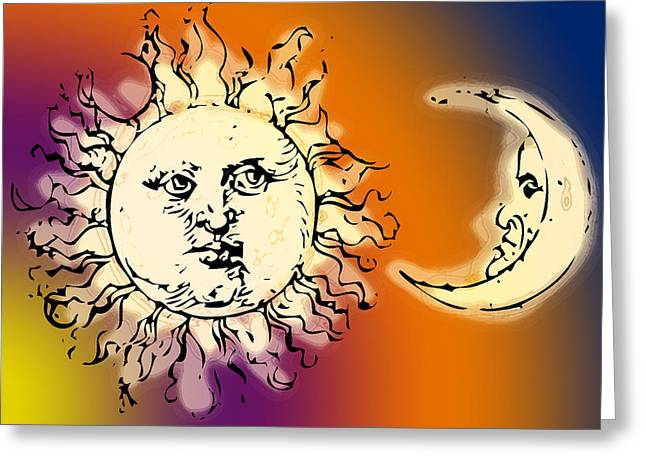 Designs On Face Greeting Cards - Sun and Moon Colorful Greeting Card by