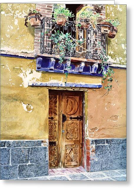 Mexico City Greeting Cards - SUN and MOON DOOR COYOCAN Greeting Card by David Lloyd Glover