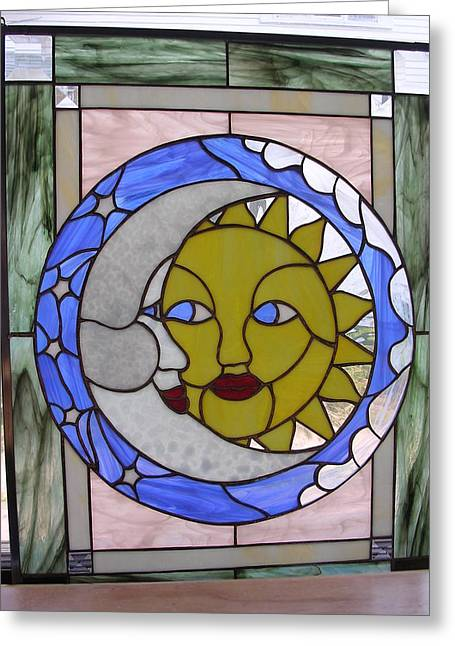 Sun Glass Art Greeting Cards - Sun and Moon Greeting Card by Karin Thue