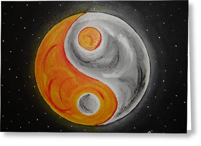 Ying Paintings Greeting Cards - Sun and Moon Ying Yang Greeting Card by Angie Butler