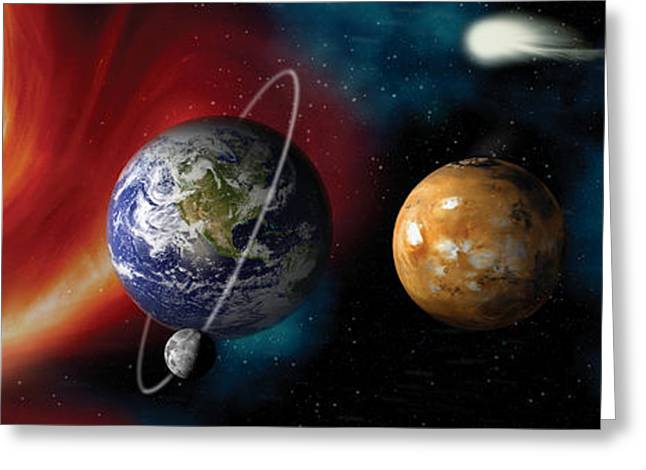 Global Communications Greeting Cards - Sun And Planets Greeting Card by Panoramic Images