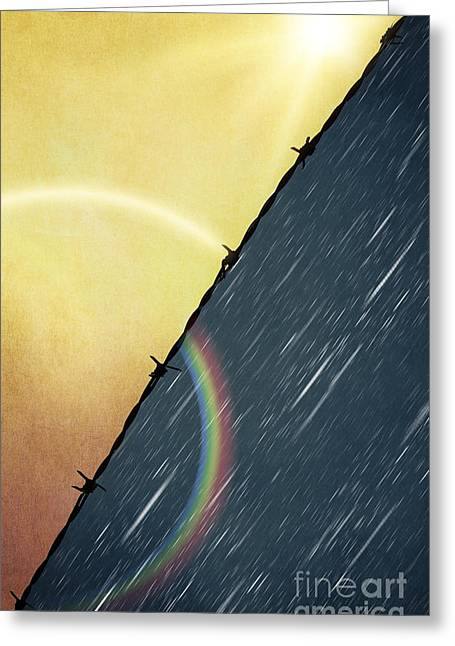 Wire Mixed Media Greeting Cards - Sun and Rain Greeting Card by Svetlana Sewell