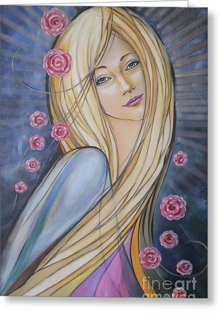 Australian Gold Coast Artist Greeting Cards - Sun And Roses 081008 Greeting Card by Selena Boron
