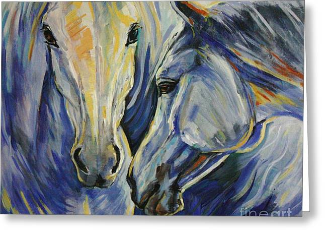 Horses Art Print Greeting Cards - Sun and Sea Greeting Card by Silvana Gabudean