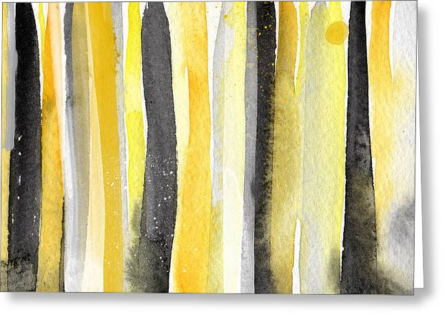 Black Abstract Art Greeting Cards - Sun and Shadows- abstract painting Greeting Card by Linda Woods