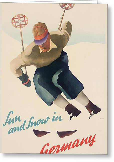 Skiing Poster Greeting Cards - Sun and Snow in Germany Greeting Card by Nix