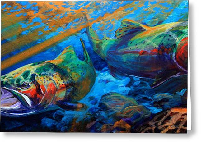 Recently Sold -  - Rainbow Trout Greeting Cards - Sun and Steel Steelhead Trout Painting Greeting Card by Mike Savlen