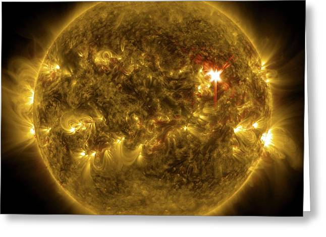 Sun And X1 Solar Flare Greeting Card by Nasa/sdo