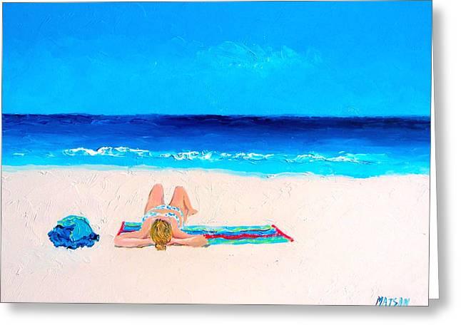 Sun Baking Greeting Cards - Girl in a Blue Bikini Beach Painting Greeting Card by Jan Matson