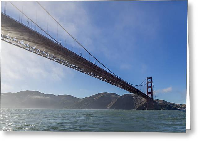 Sun Beams Through The Golden Gate Greeting Card by Scott Campbell
