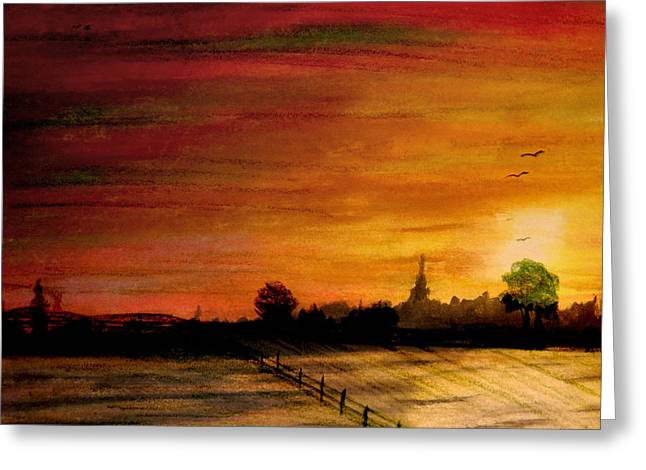 Pasture Scenes Mixed Media Greeting Cards - Sun Behind Green Tree Greeting Card by R Kyllo