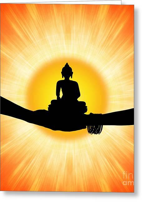 Mind Of God Greeting Cards - Sun Buddha Greeting Card by Tim Gainey