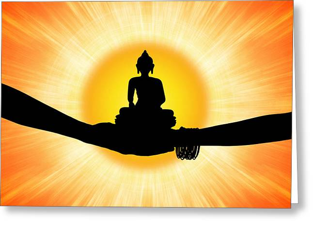Meditate Greeting Cards - Sun Buddha Greeting Card by Tim Gainey
