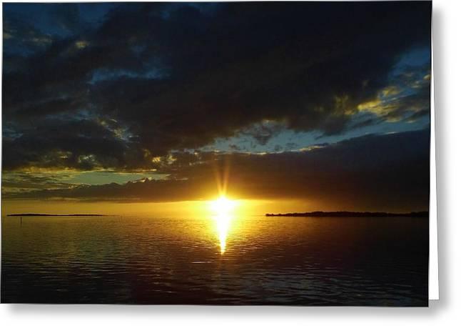 Cedar Key Greeting Cards - Sun Burst At Sunset Greeting Card by D Hackett