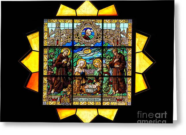 Catholic Glass Greeting Cards - Sun Burst Stained Glass Greeting Card by Frank Welder
