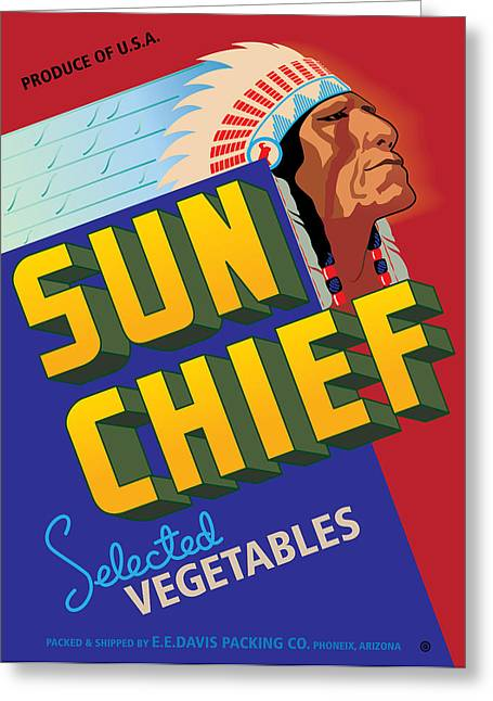 Label Greeting Cards - Sun Chief Greeting Card by Gary Grayson