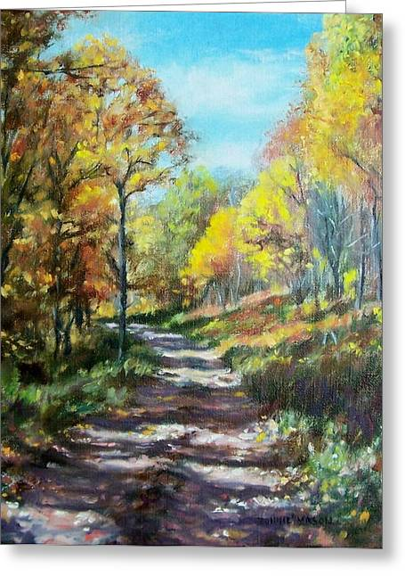 Organic Greeting Cards - Sun Dappled Path Greeting Card by Bonnie Mason