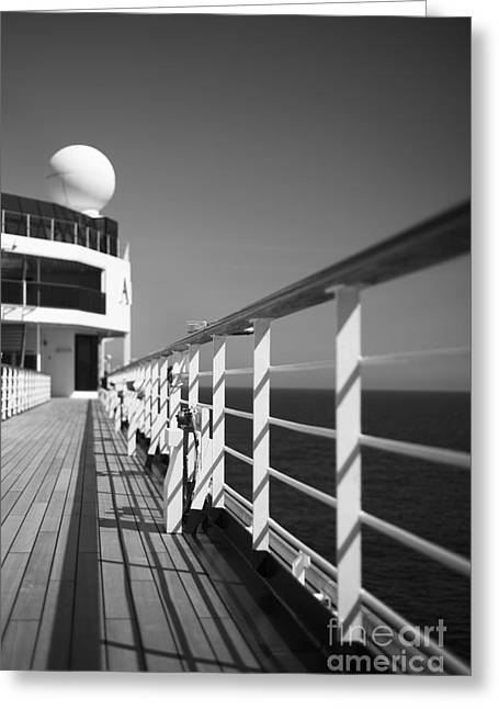 Wooden Ship Greeting Cards - Sun Deck Shadows Greeting Card by Anne Gilbert