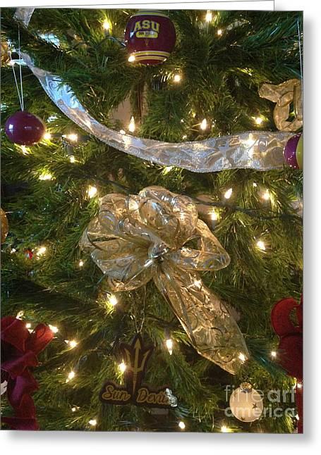 Asu Greeting Cards - Sun Devil Christmas Too Greeting Card by Pamela Walrath