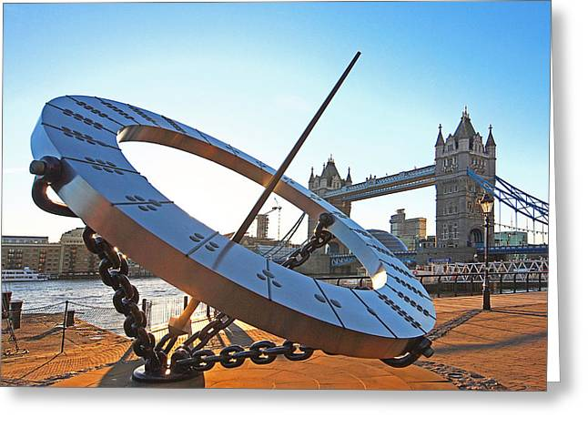 Famous Bridge Greeting Cards - Sun Dial and Tower Bridge London Greeting Card by Gill Billington
