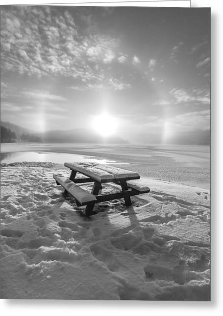 Sunset In Norway Greeting Cards - Sun Dog bw Greeting Card by Rose-Maries Pictures
