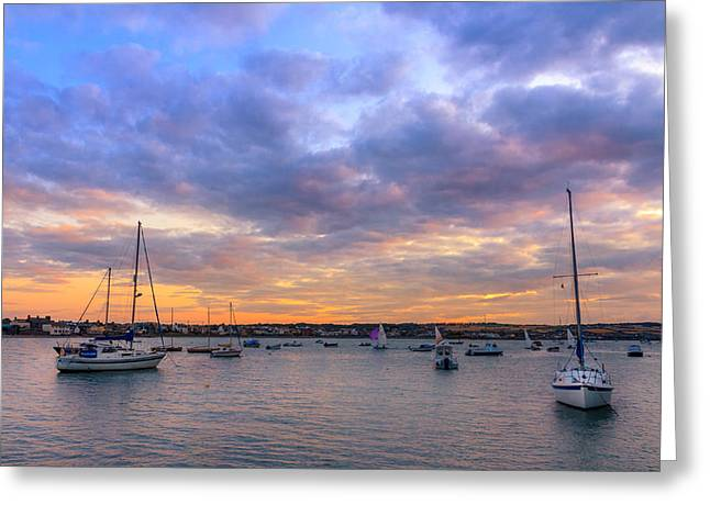 Sunset Prints Of Ireland Greeting Cards - Sun Down Harbour Greeting Card by John Hurley