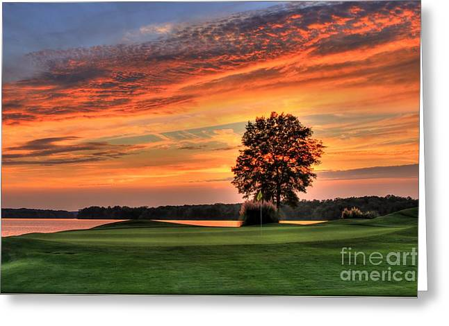 Golf Pictures Greeting Cards - Sun Drenched Greeting Card by Reid Callaway