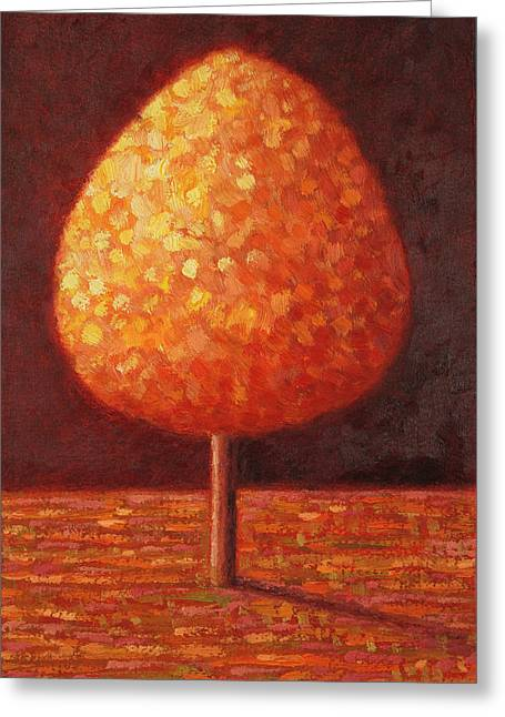 Golden Greeting Cards - Sun Drenched Tree Greeting Card by Peter Davidson