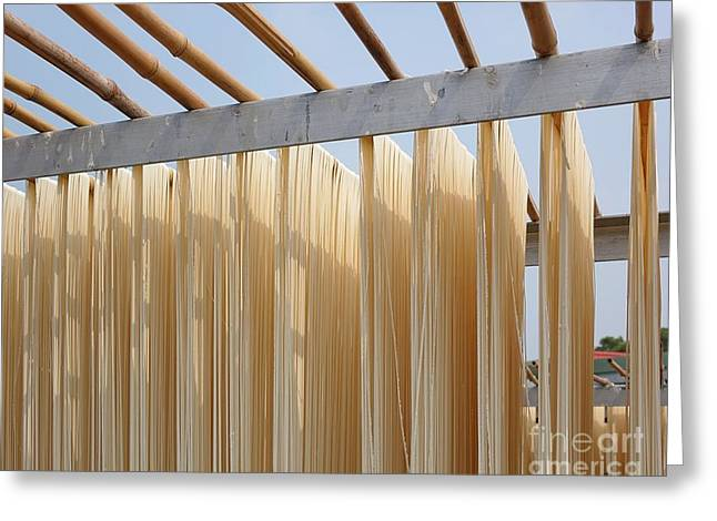 Sun Dried Long Noodles In Taiwan Greeting Card by Yali Shi