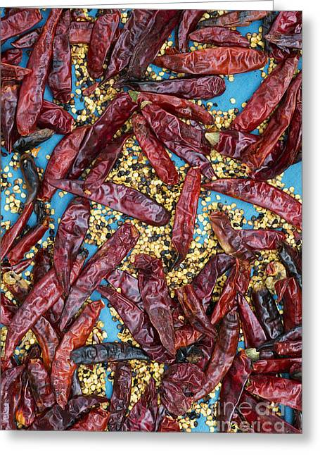 Capsicum Greeting Cards - Sun dried red chilli peppers Greeting Card by Tim Gainey