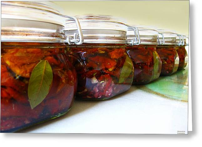 Oil Bucket Greeting Cards - Sun Dried Tomatoes in Glass Jars Greeting Card by Alexandros Daskalakis