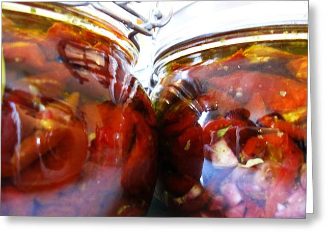 Oil Bucket Greeting Cards - Sun Dried Tomatoes in Jars Greeting Card by Alexandros Daskalakis