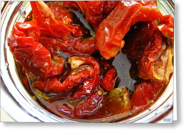 Stainless Steel Greeting Cards - Sun Dried Tomatoes in Oil Greeting Card by Alexandros Daskalakis
