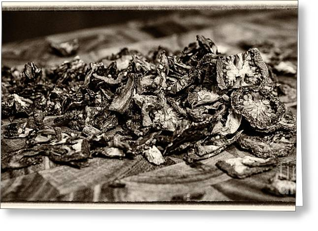 Commercial Photography Greeting Cards - Sun Dried Tomatoes Sepia Greeting Card by Iris Richardson